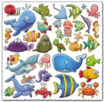 Marine life cartoon vectors