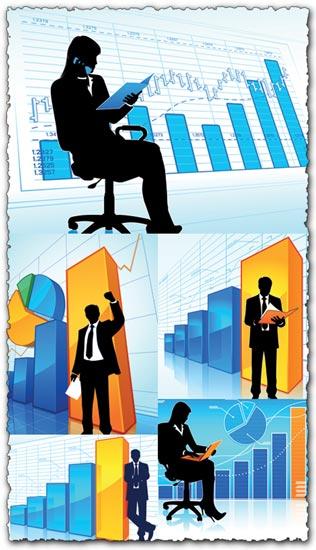 Business data charts vectors