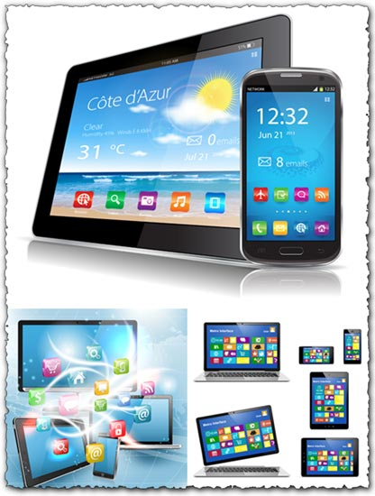 Tablet laptop and smartphone vectors