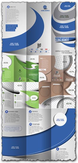 Tri-folded business brochure vectors