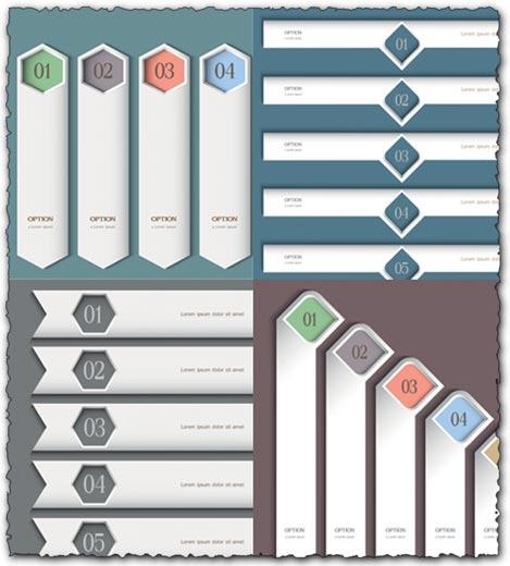 White headers vector templates