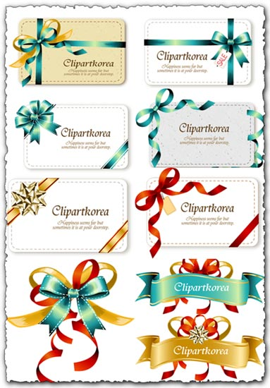 Bow ribbons on cards vectors