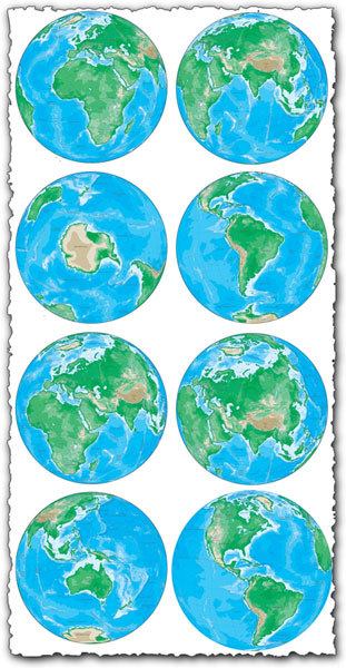 Different angles of earth vector