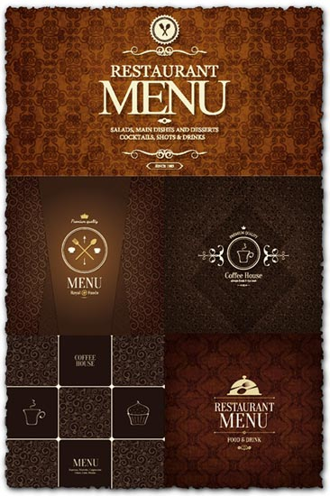 Coffee shop and restaurant menu vectors