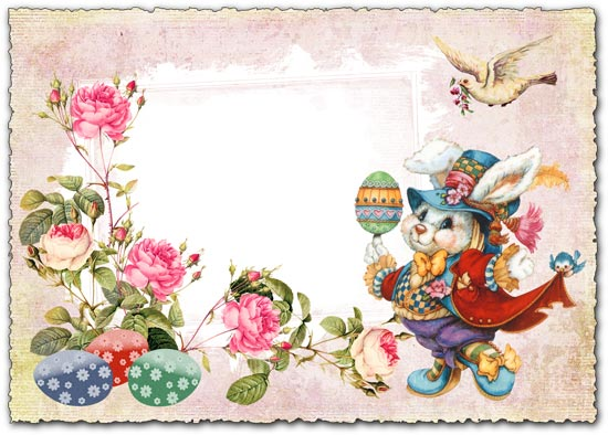 Easter frame postcard for Photoshop