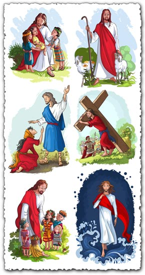 Easter with Jesus vector templates
