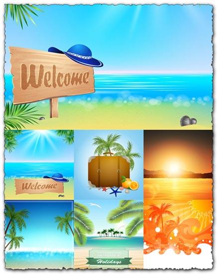 Exotic beach landscape vectors