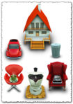 Family objects as transparent png icons