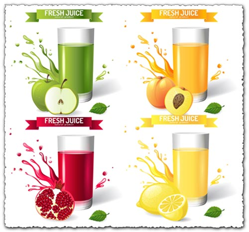 Fresh natural juice vector templates