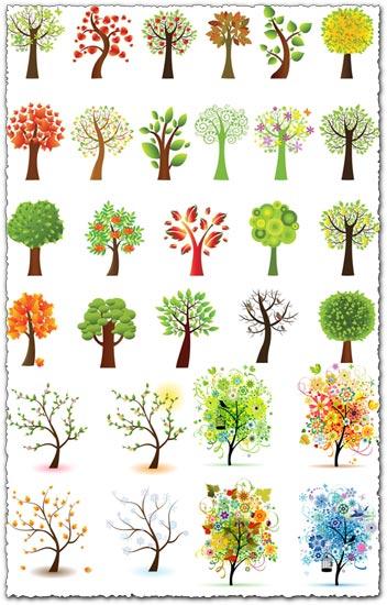 Ornamental trees vector illustrations