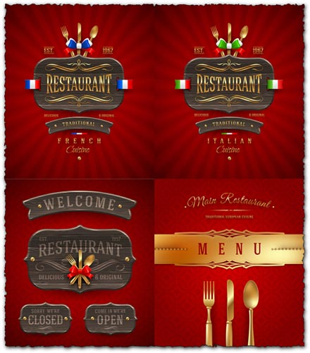 Restaurant wooden sign and menu cover vectors