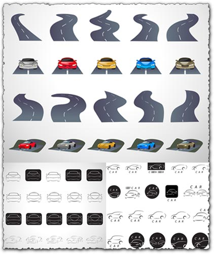 Roads and sport car shapes vectors