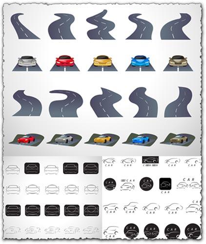 sc 1 st  vector-eps.com & Roads and sport car shapes vectors