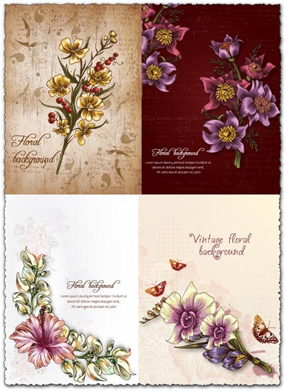 Spring floral background vector illustration 4