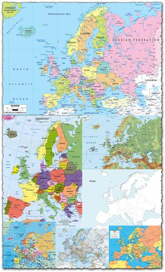 Administrative Europe map vector and images