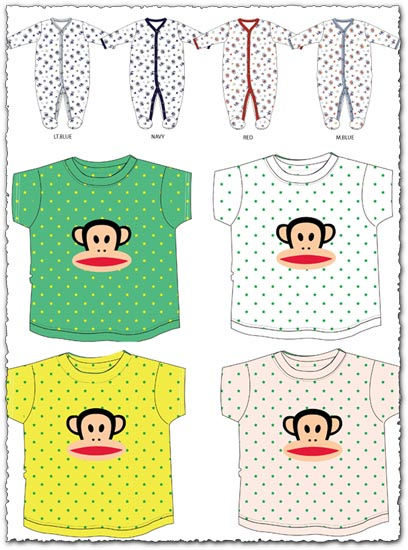 Baby coverall and t-shirts vector material