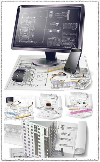 Building plan drawings vector