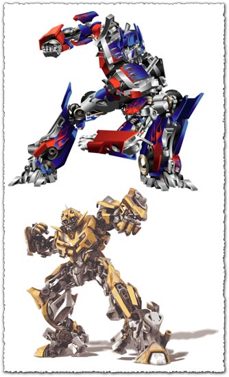 Bumblebee and Optimus Prime transformers vectors