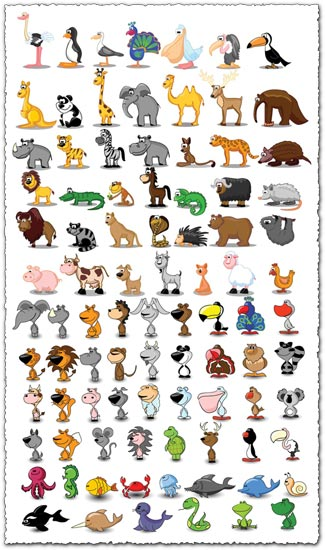 Cartoon Animals And Birds Vectors on funny cartoon animals labels vector