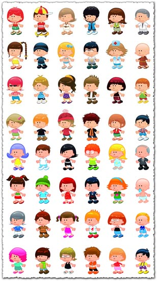 Cartoon children vector characters