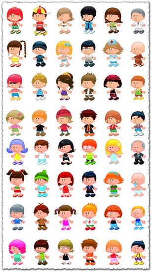 Cartoon children vector characters