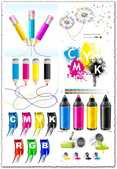 CMYK paint bucket color vectors