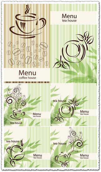 Coffee and tea menu card vectors
