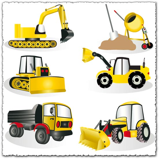 Construction heavy machines vector