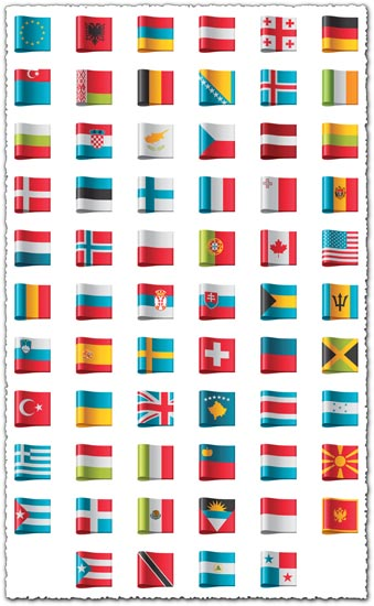 Country flags as vector labels
