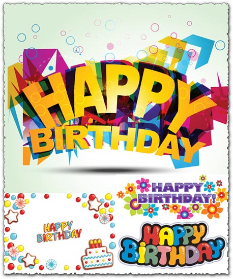 Creative happy birthday fonts vector