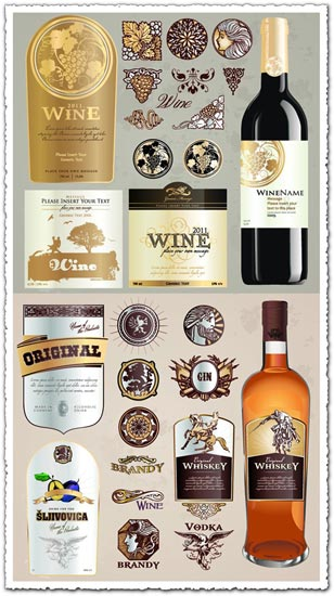 Creative wine bottle labels vector