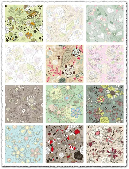 Elegant floral patterns vector