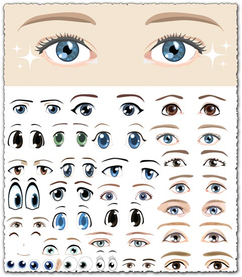 Eyes shapes vector cartoons
