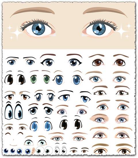 Eyes shapes vector cartoons