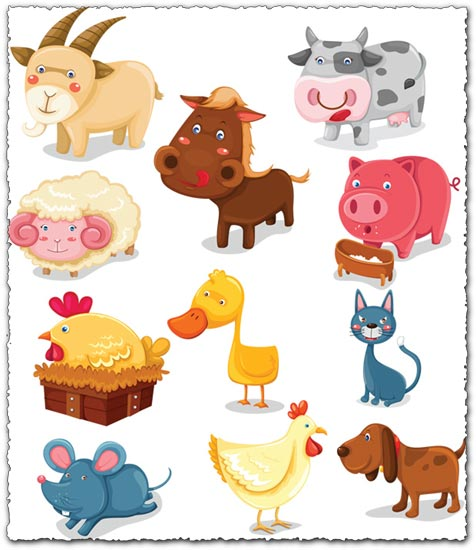 Farm animals vector cartoons
