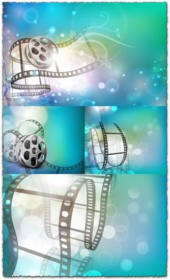 Film strip with fantasy background vector