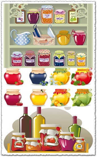 Food jars and seasoning supplies vectors