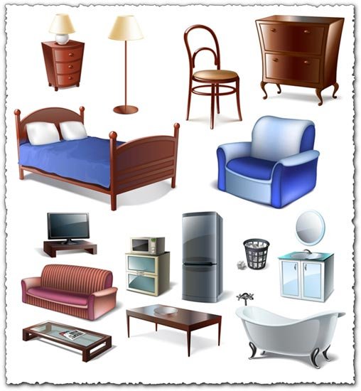 Furniture bedroom vector objects