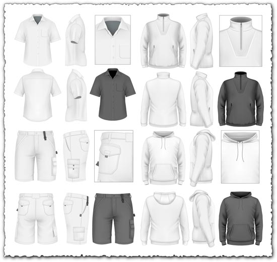 Men's sportwear clothes vectors