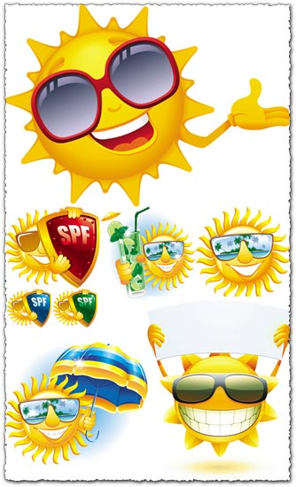 Sun smiley face expressions vector