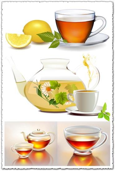 Teapot cups eps vector