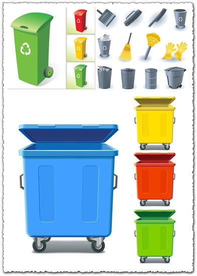 Trash cans and cleaning utenstils vector