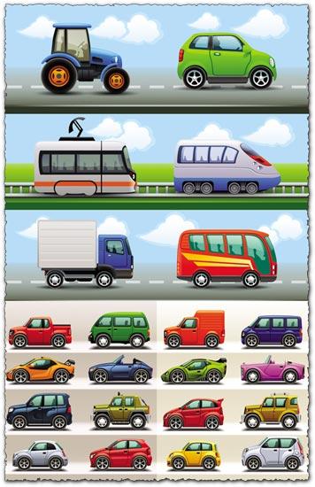 Variety of big and small cars vectors