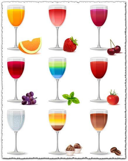 Various flavors of juice vectors