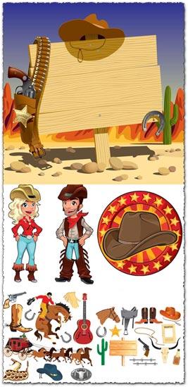 Wild west cowboy cartoons vector