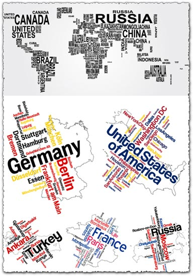 Word collage as continents and countries vectors