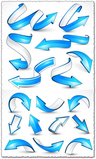 Dynamic 3D blue arrows vector