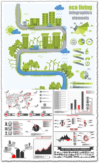 Eco living infographics elements