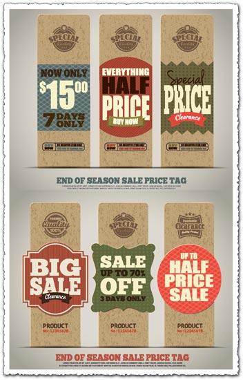 End of season sale price tags