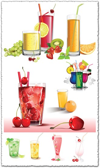 Fruit juice on cups vectors
